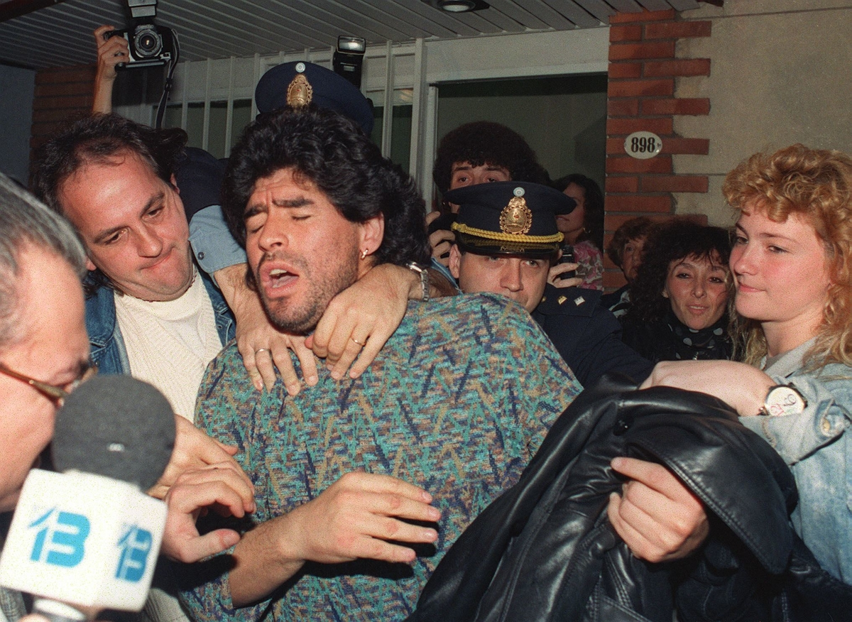 Diego Maradona arrested in Argentina in 1991. Courtesy of HBO