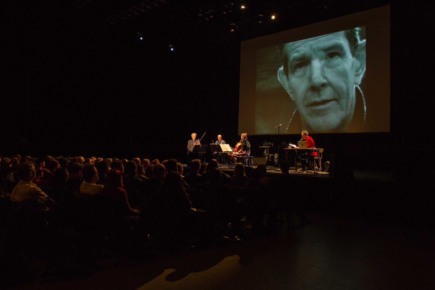 "A performance of Sam Green and Joe Bini's ""A Thousand Thoughts,"" featuring the Kronos Quartet, at the Wexner Center in Columbus, OH. Courtesy of Sam Green"