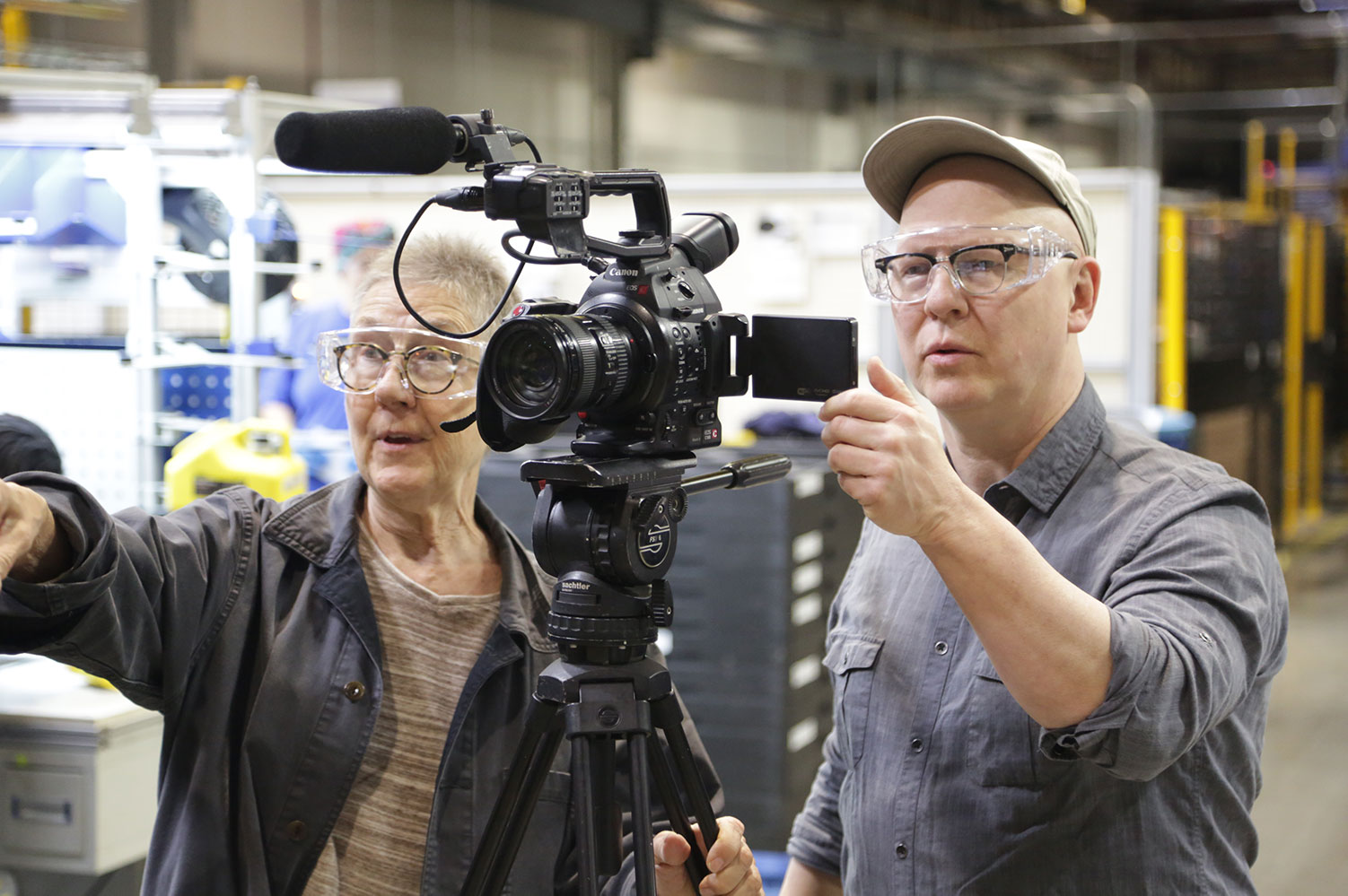 Julia Reichert and Steven Bognar in production on their documentary 'American Factory.' Courtesy of Netflix.