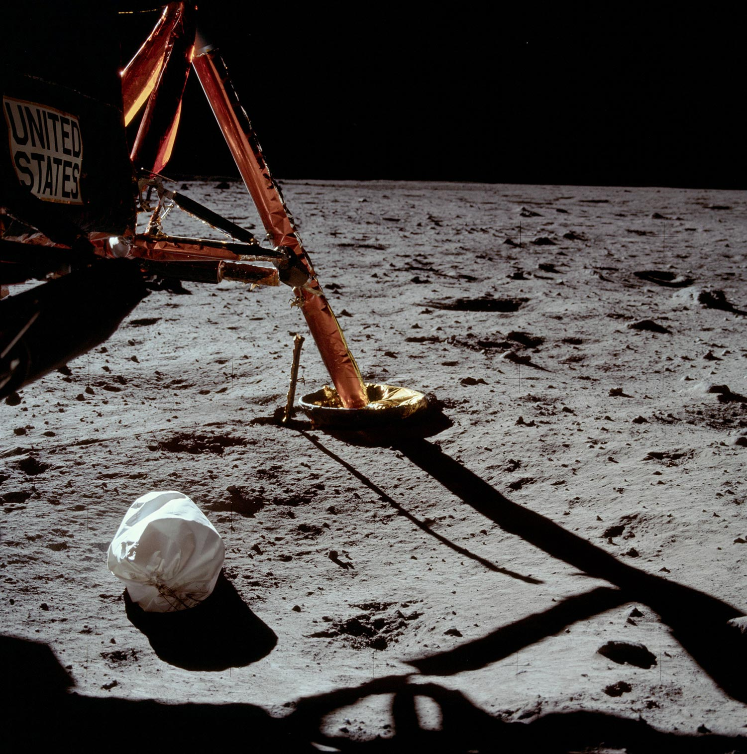 The first photograph captured by Neil Armstrong after landing on the moon. Image courtesy of NASA.