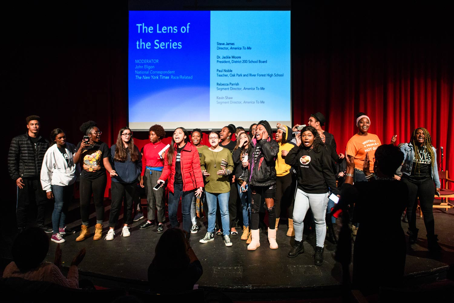 Students at Oak Park Forest High School in Illinois take the stage at a town hall discussion of 'America to Me.' Photo: Paul Goyette. Courtesy of Lisa Zimble