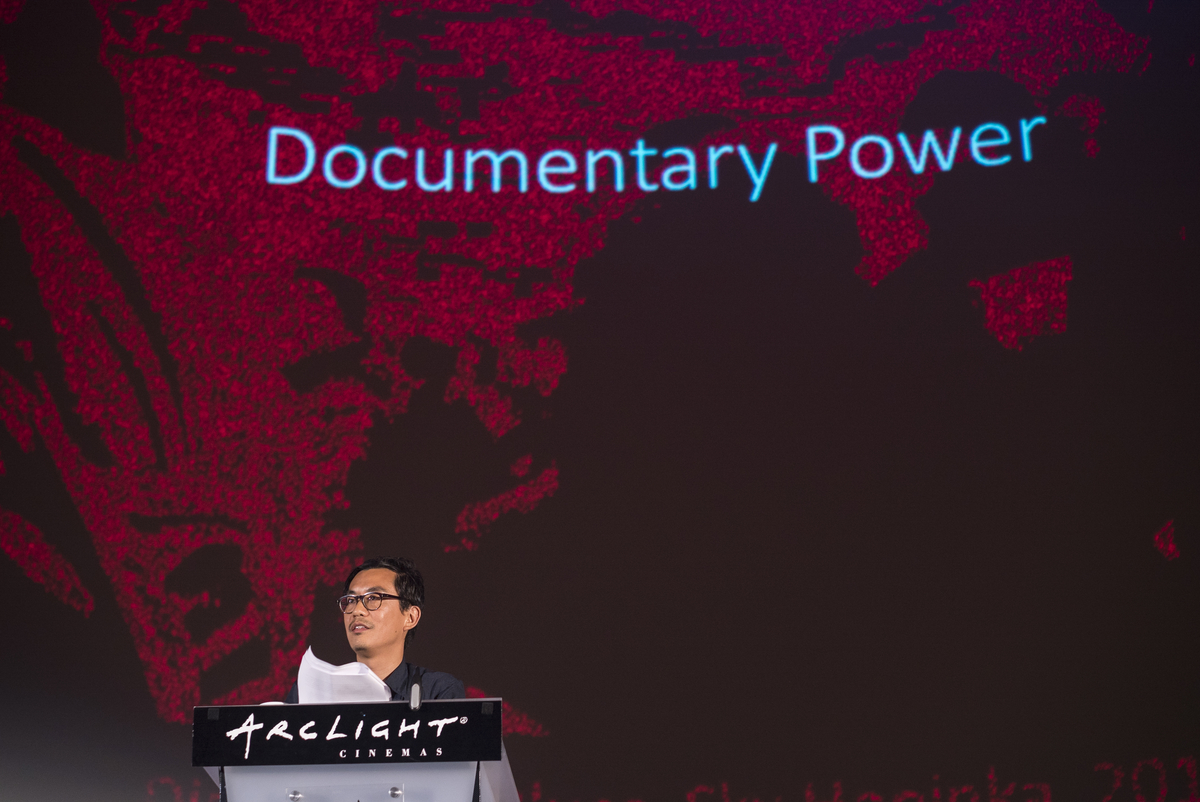 The Ford Foundation's Chi-hui Yang delivers his keynote address at the 2018 Getting Real. Photo: Todd Williamson.