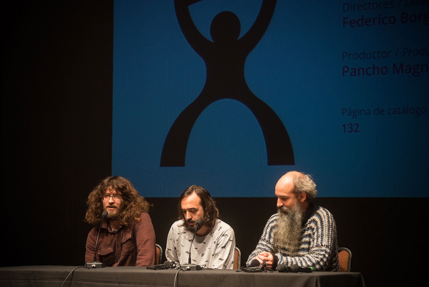 The creative team behind 'El campeón del mundo (The Champion of the World)' pitching at DocMontevideo. Photo: Andrea Lopez. Cortesy of DocMontevideo