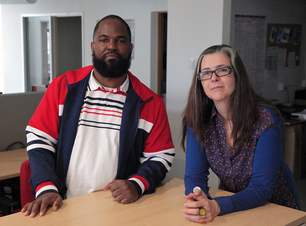 Erlonne Woods (left) and Nigel Poor, producers of the Radiotopia podcast Ear Hustle. Courtesy of Radiotopia