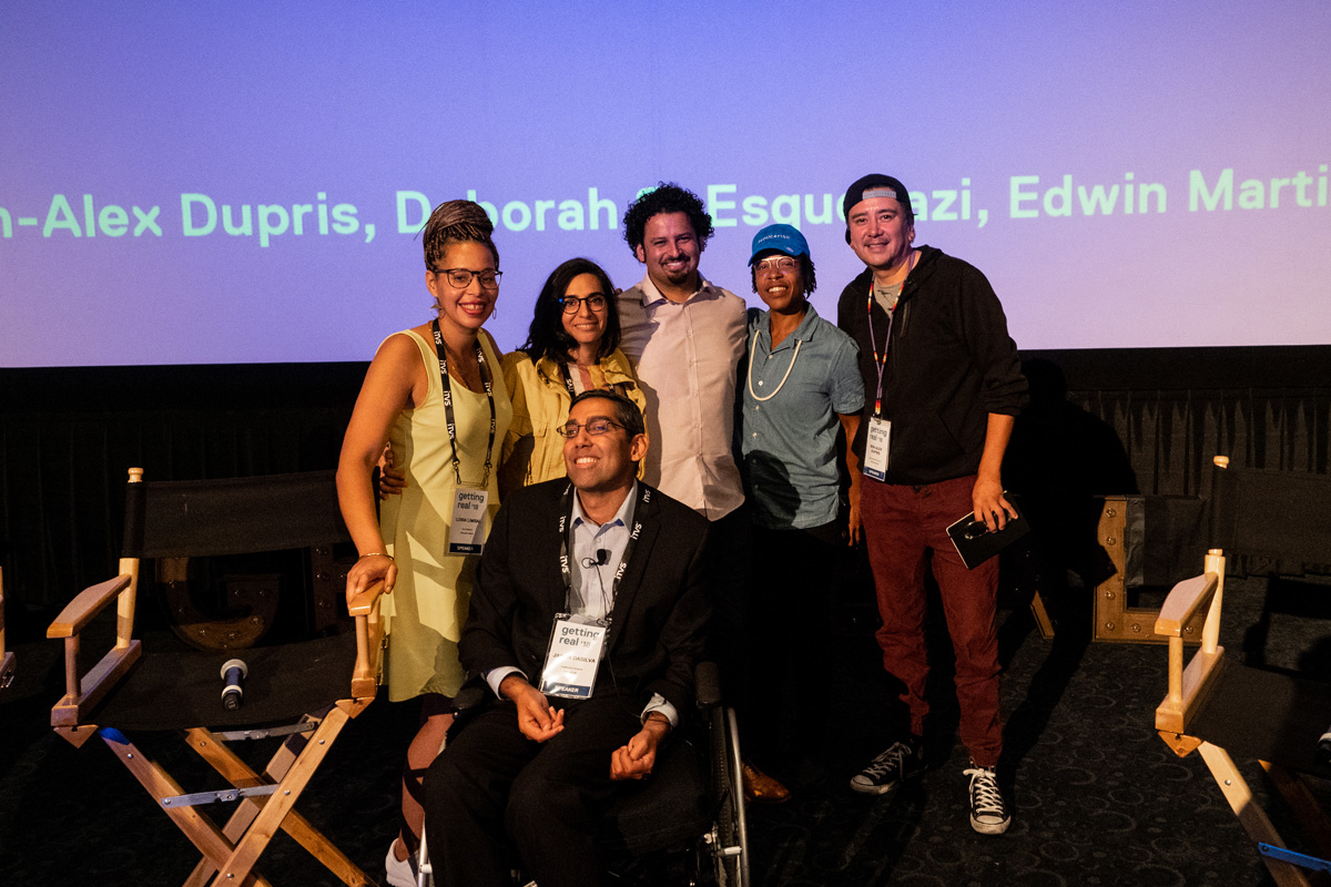 "Panelists at ""#DecolonizingDocs - The Filmmaker"" at Getting Real '18.  (Left to right):  Loira Limbal, Deborah S Esquenazi, Edwin Martinez, Lyric R Cabral, Ben-Alex Dupris, Jason DaSilva. Courtesy of Susan Yin."
