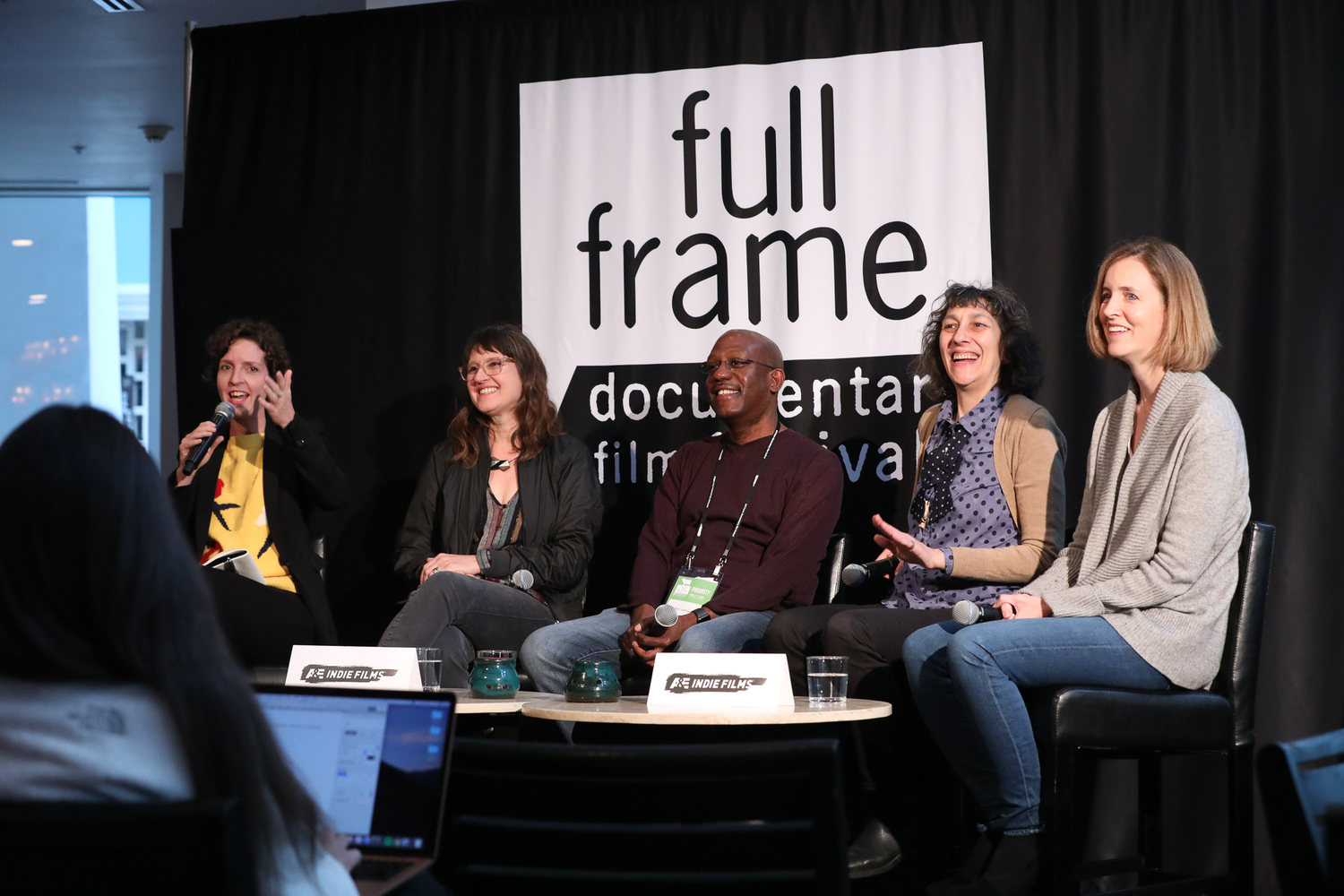 "The ""Southern Sustainability"" panel at Full Frame's A&E IndieFilms Speakeasy. Left to right: Moderator Dana Merwin, IDA; Rachel Raney, UNC-TV; Eric Johnson, Trailblazer Studios; Naomi Walker, Southern Documentary Fund; Susan Ellis, Footpath Pictures. Courtesy of Full Frame Documentary Film Festival"