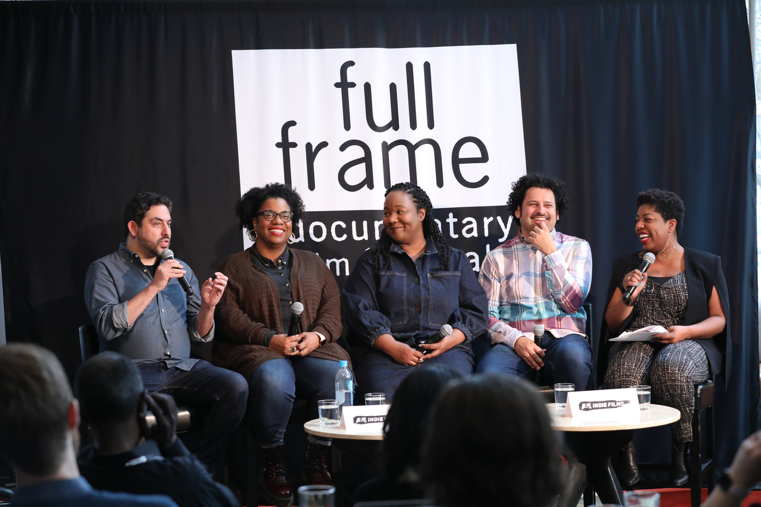 "The ""#DocsSoWhite: The Path Forward"" panel at Full Frame--left to right: filmmaker Bernardo Ruiz; Gina Duncan, BAM; Maori Karmael Holmes, Blackstar Film Festival; filmmaker Edwin Martinez; and moderator Seena Hodges. Courtesy of Full Frame Documentary Film Festival"