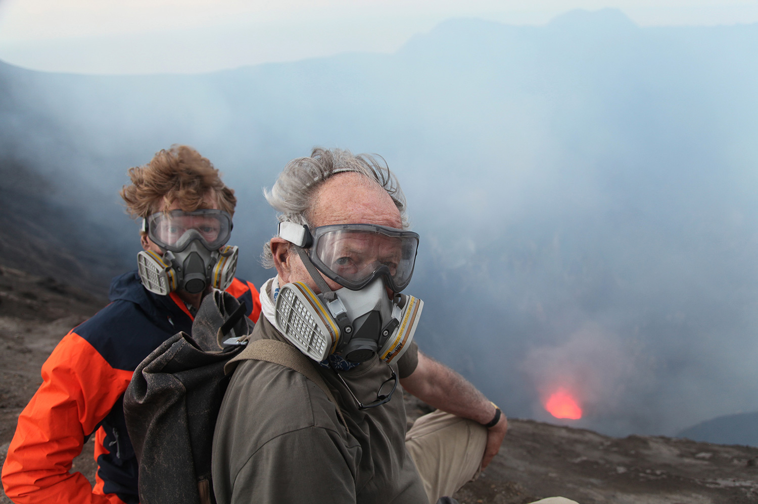Volcanologist Clive Oppenheimer (left) with filmmaker Werner Herzog in Indonesia during the making of Herzog's 'Into the Inferno,' on location in Indonesia. Courtesy of Netflix