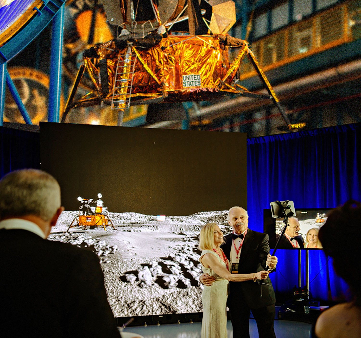 At the Apollo Celebration Gala, SaturnV Complex, Kennedy Space Center, Florida. Courtesy of The People's Moon.