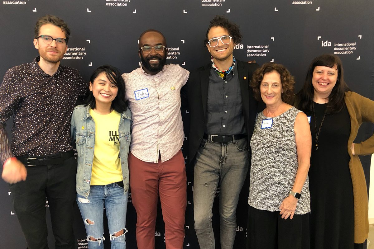 """Some of the participants at Podcast Day, left to right: George Lavender, Wondery; Paola Mardo, 'Long Distance'; John Asante, Neon Hum Media; Sam Greenspan """"99% Invisible"""" ; Willa Seidenberg, USC Annenberg School for Communication and Journalism; Ranell Shubert, IDA. photo: Niki Bhardwaj"""