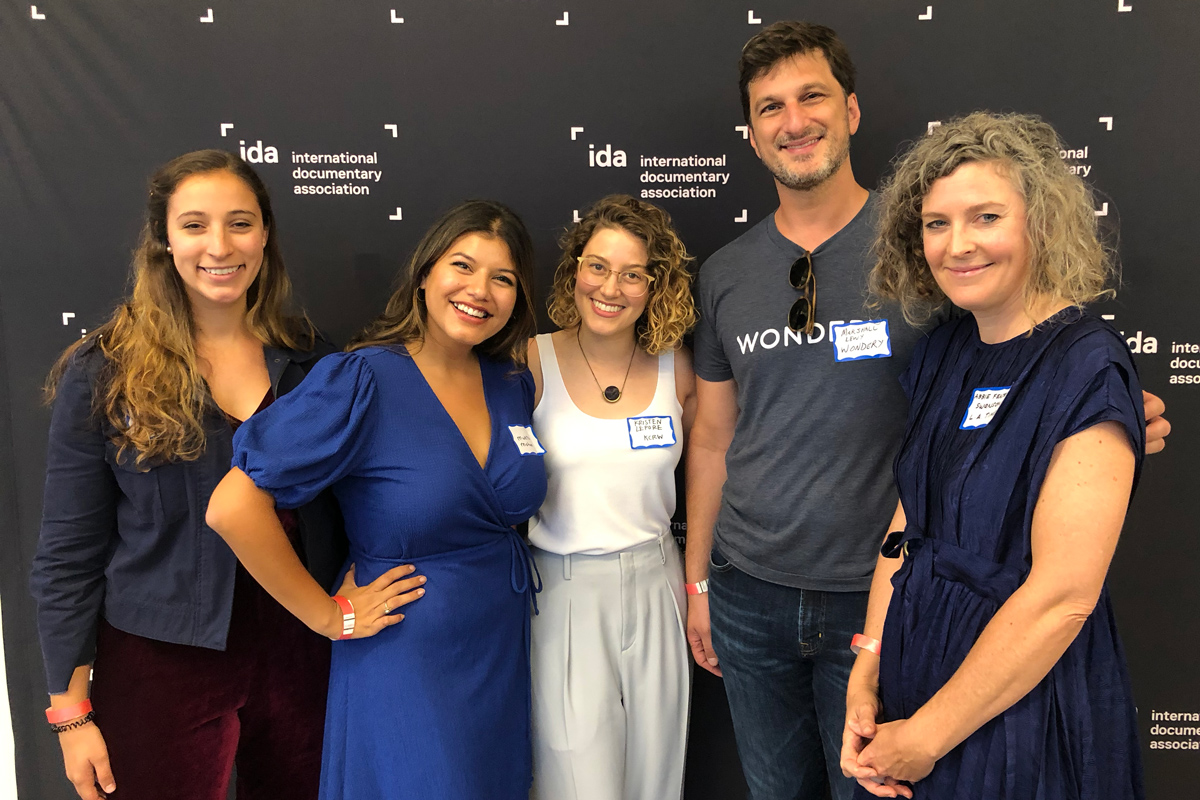 The 'Industry/Pitching/Adaptation/Intellectual Property' Panel, left to right: Arielle Nissenblatt, EarBuds Podcast Collective; Mukta Mohan, Crooked Media; Kristen Lepore, KCRW; Marshall Lewy, Wondery; Abbie Fentress Swanson, 'Los Angeles Times.' Photo: Niki Bhardwaj