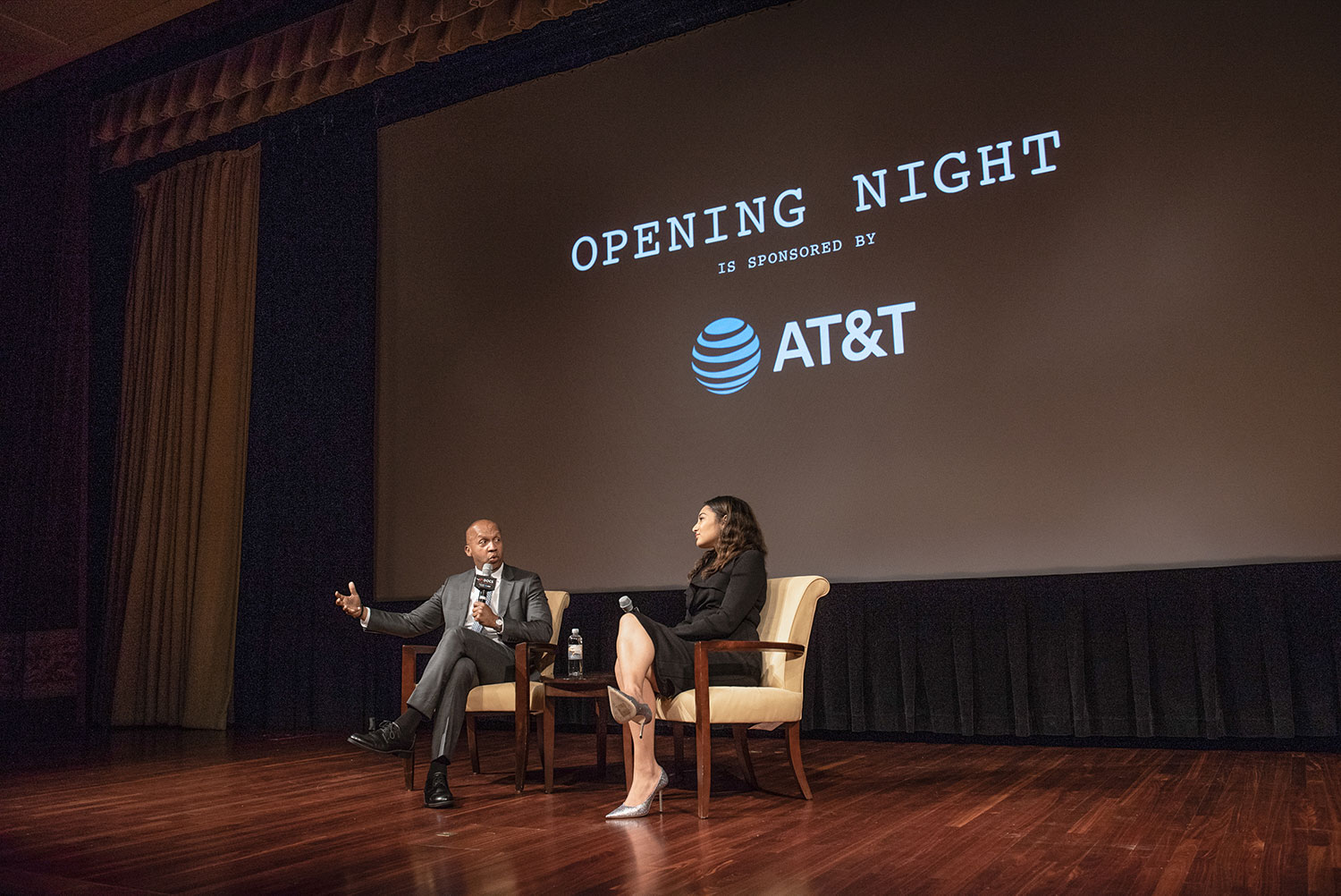 Bryan Stevenson, right, subject of 'True Justice,' in a post-screening conversation with NBC's Morgan Radford. Photo: Gediyon Kifle