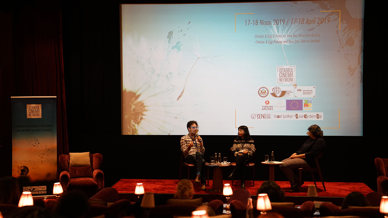 Istanbul Cinema Network's panel discussion with Jonathan Skurnik, New Day Films, and Lucila Moctezuma, Chicken and Egg.