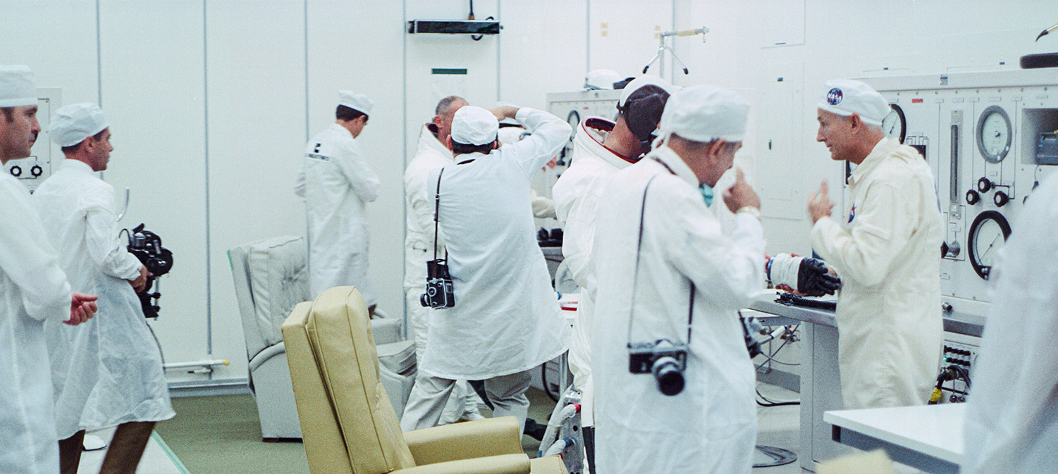 NASA and ILC technicians help the Apollo 11 crew, From Todd Douglas Miller's 'Apollo 11,'  a Statement Pictures / CNN Films documentary.