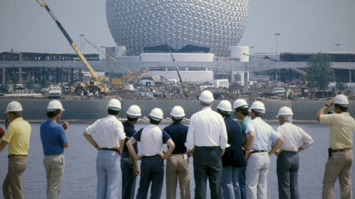 The Epcot Center, under construction. From Leslie Iwerks' 'The Imagineering Story.' Courtesy of Disney+