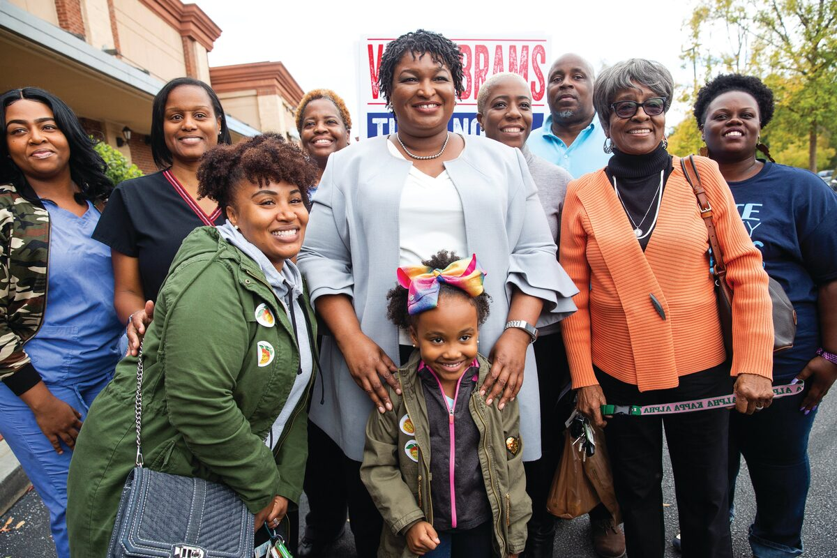 Georguia gubernatorial candidate Stacey Abrams (middle). From Grace Lee and Marjan Safinia's 'And She Could Be Next.' Courtesy of Grace Lee and Marjan Safinia