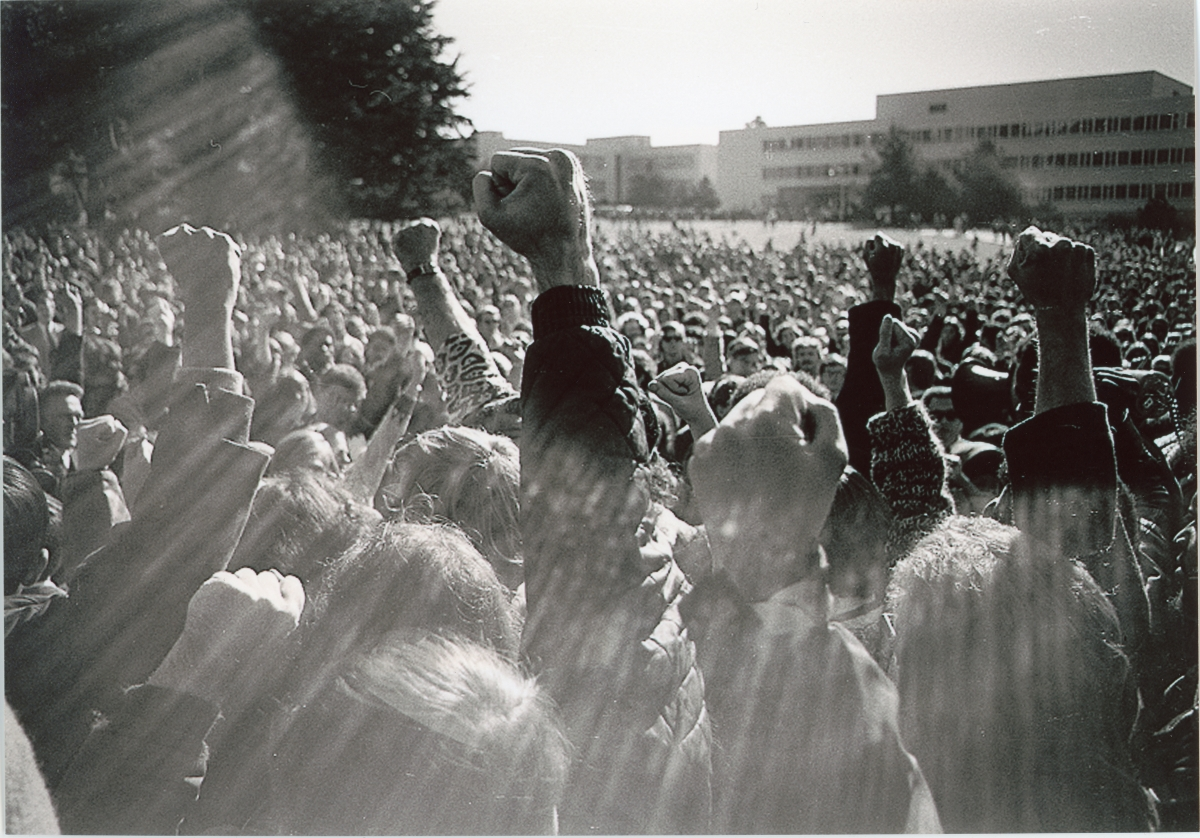 A protest with San Francisco State University in 1968. From Episode 3 of  'Asian Americans,' directed by S. Leo Chaing; series producer: Renee Tajima-Pena. Courtesy of PBS/WETA