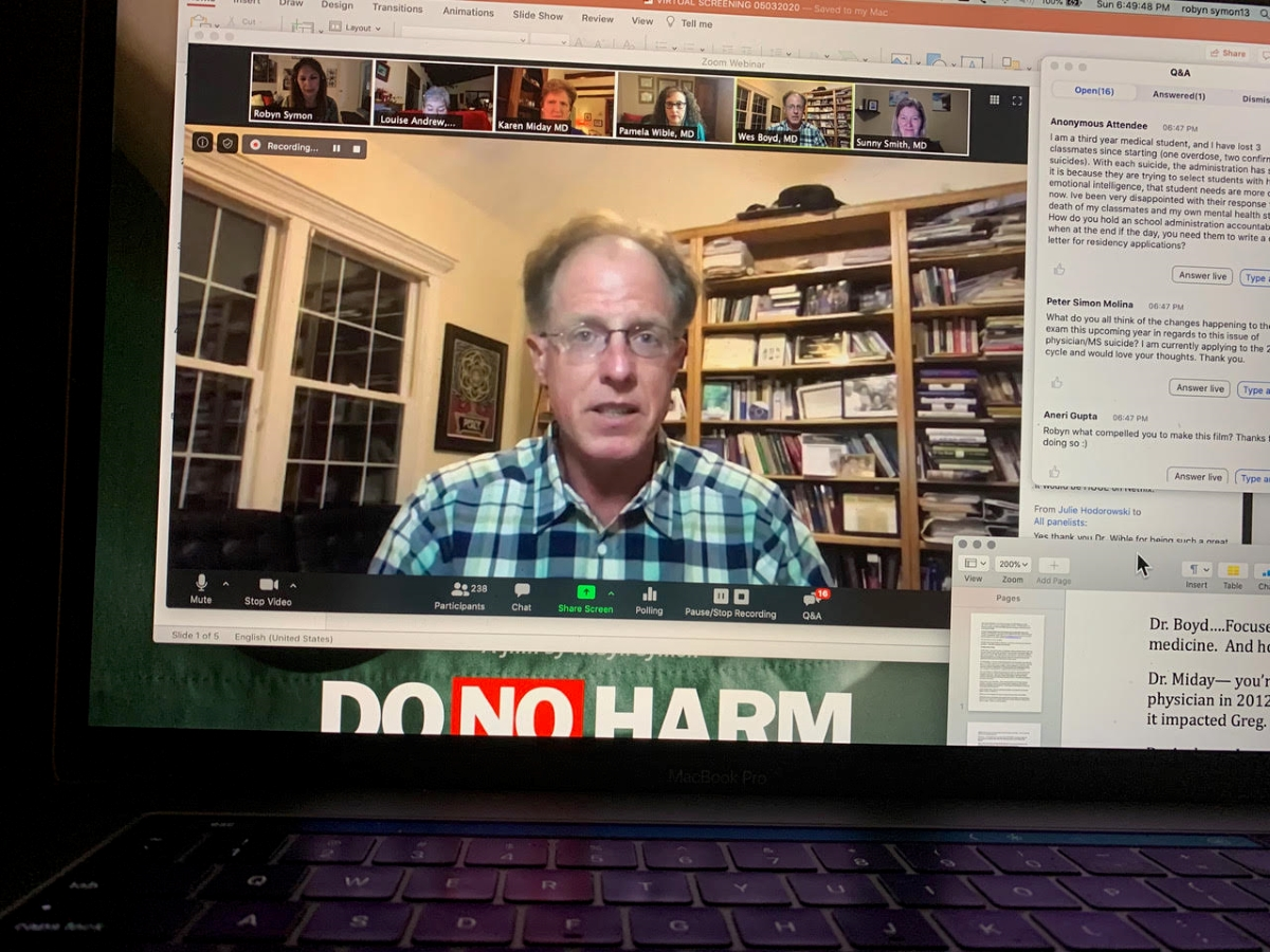 Screen grab from the virtual outreach tour of Robyn Symons' 'DO NO HARM.' Courtesy of Robyn Symon