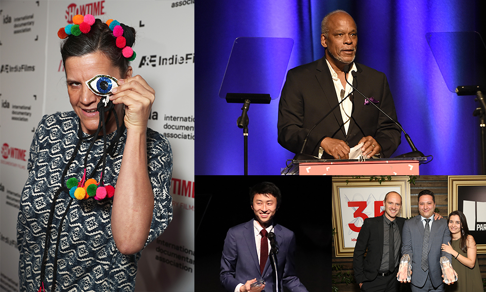 Clockwise from top right: Stanley Nelson receiving the Career Achievement Award at the 2016 IDA Doc Awards, Waad Al-Kateab, Hamza Al-Kateab and Edward Watts with their Best Feature Award at the 2019 IDA Doc Awards, Bing Liu receiving the Emerging Documentary Filmmaker Award at the 2018 IDA Doc Awards, Kirsten Johnson at the 2016 IDA Doc Awards