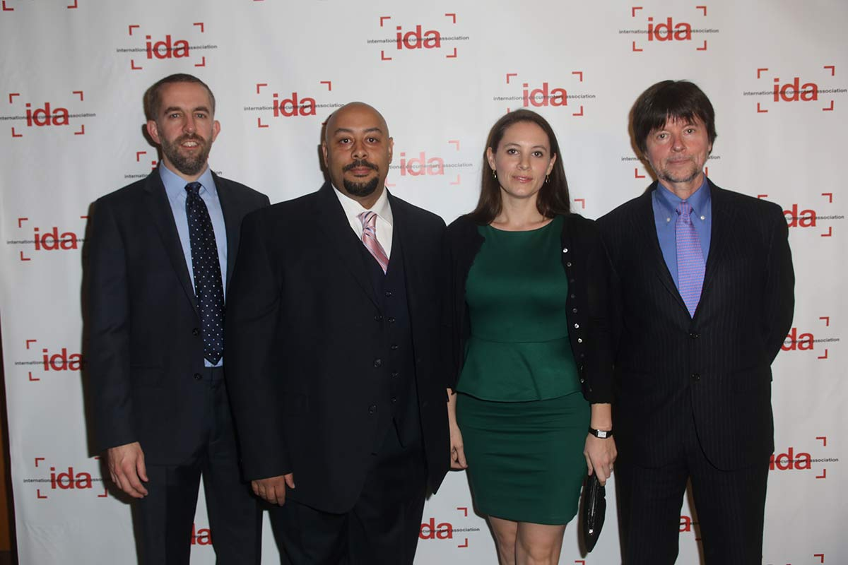 'The Central Park Five' team at the 2012 IDA Documentary Awards. Left ti right: Filmmaker David McMahon; 'Central Park Five' protagonist Raymond Santana; filmmaker Sarah Burns; filmmaker Ken Burns. The filmmakers successfully applied the New York statutory shield law to thwart a subpoena for their footage.