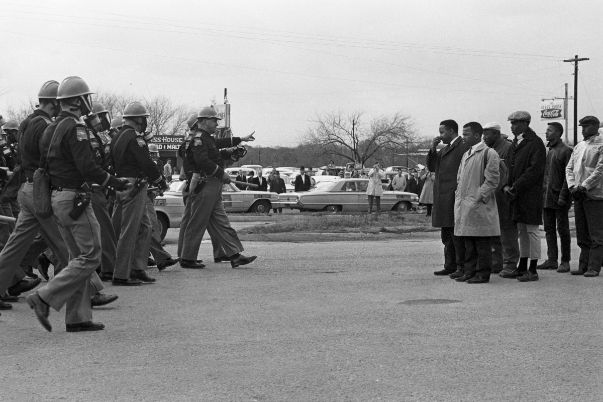Protesters and police in Selma on Bloody Sunday. From Dawn Porter's 'John Lewis: Good Trouble,' a Magnolia Pictures release. © Spider Martin. Courtesy of Magnolia Pictures