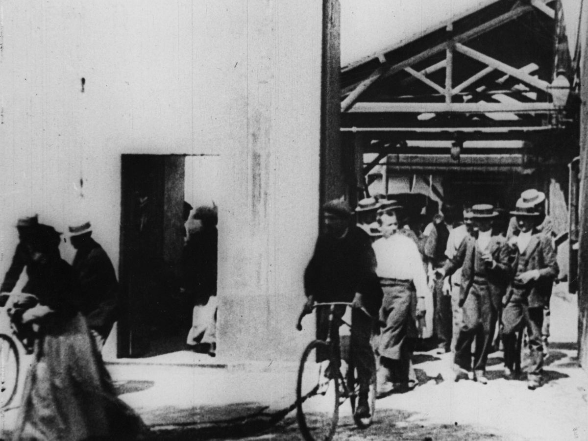 From the Lumiere Brothers' 'Workers Leaving the Lumiere Factory.'