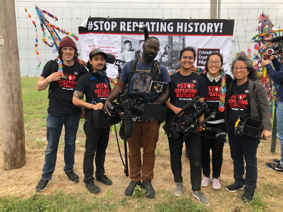 Grace Lee (right) with her crew, shooting Episode 4 of 'Asian Americans' at Crystal City TX Detention Center Rally. Courtesy of 'Asian Americans.'