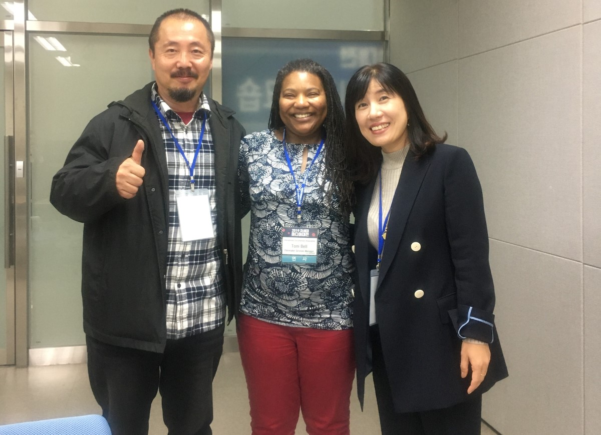 IDA Filmmaker Services Manager Toni Bell (center) in South Korea as a guest of Korea Next Media Group.