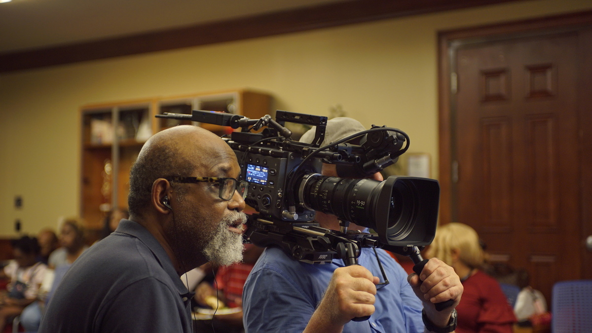 Sam Pollard, directing an episode of 'Atlanta's Missing and Murdered.' Courtesy of HBO