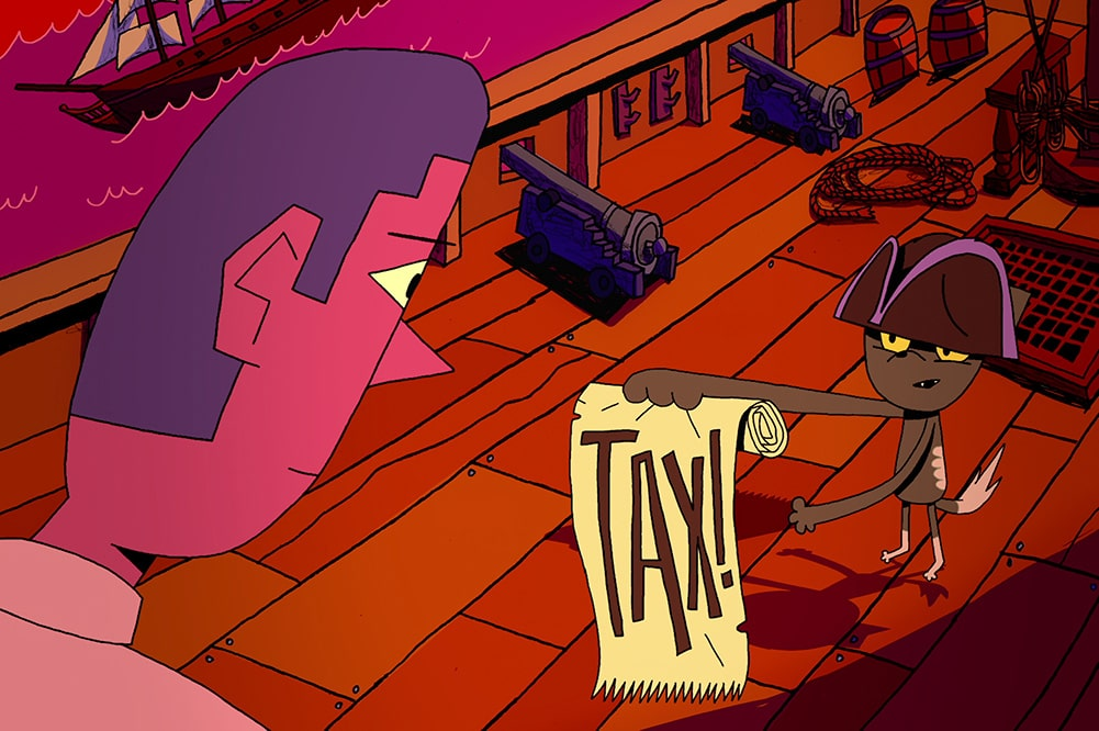 """Animated still of a cat dressed as a pirate holding a scroll saying """"Tax!"""" while a man looks on. A still from the third episode of the docu series 'We the People.' Courtesy of Netflix."""
