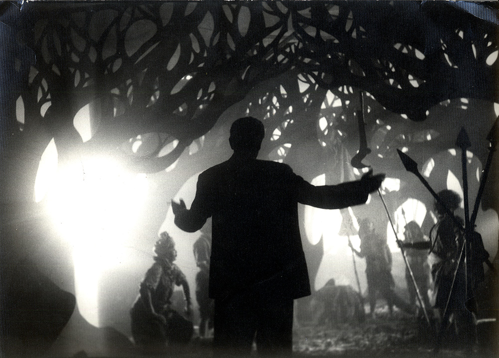 Silhouetted dancers in a scene from Satyajit Ray's 'Rabindranath Tagore'. Courtesy Criterion Channel.