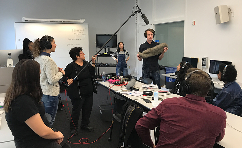 During the fall of 2019, guest instructor JT Takagi (holding the boom pole) shared her techniques and insights on capturing sound in the field with assistance from Thor Neureiter (holding the windscreen) and Doc Fellow Yuhong Pang (rear).