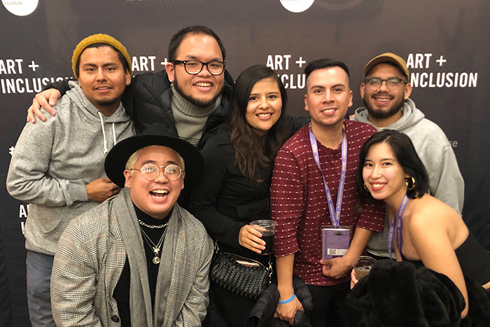 Undocumented Filmmakers Collective Members at the 2020 Sundance Film Festival. From left to right and top to bottom: Will Prada, Set Hernandez Rongkilyo, Lidieth Arevalo, Marcos Nieves, Frisly Soberanis, Nicole Solis-Sison, Josaen Hernandez Ronquillo,