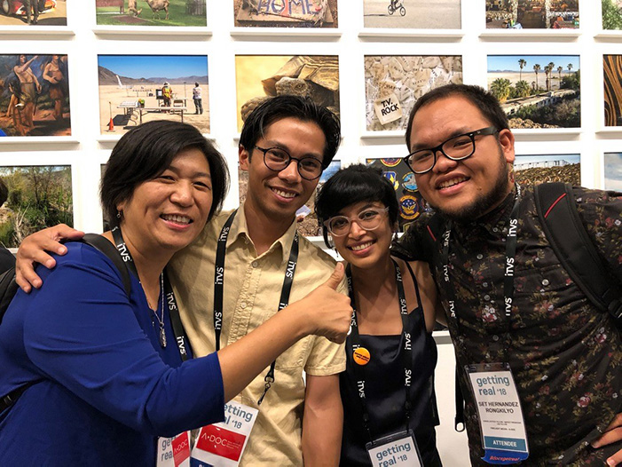 From left to right: Jean Tsien (documentary editor and executive producer), Miko Revereza, Rahi Hasan and Set Hernandez Rongkilyo at Getting Real '18.