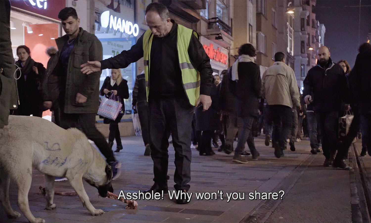 A sanitation worker on an Instanbul steet tries to teach Nazar, one of the dogs in Elizabeth Lo's 'Stray,'  good manners about sharing her bone.. From Elizabeth Lo's 'Stray'