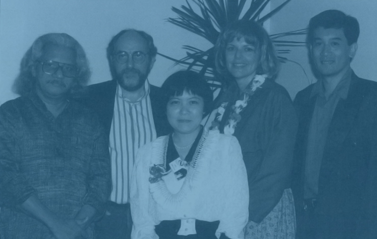 The festival jury (from left): film directors Adoor Gopalakrishnan and Arturo Ripstein, the Japan Society's Kyoko Hirano, IDA Executive Director Betsy McLane, the Mowelfund Film Institute's Nick Decampo.