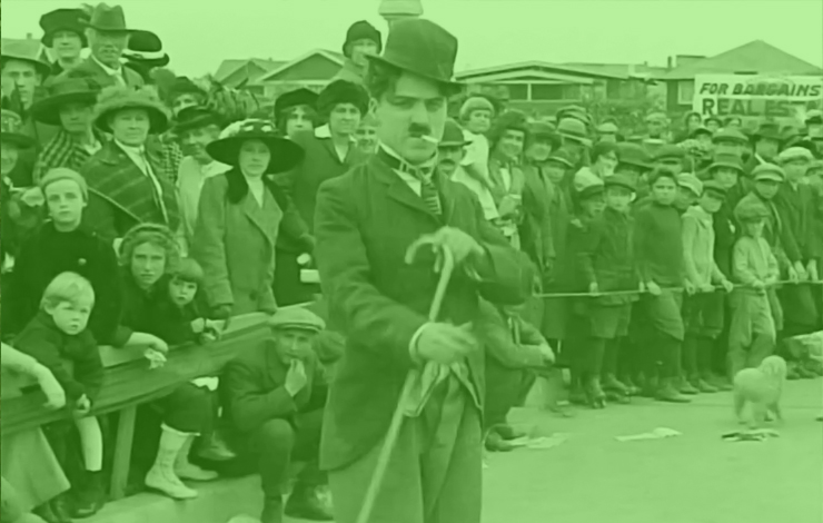 In Chaplin's first film, <em>Kid Auto Race at Venice</em> (1914) Mack Sennett's crew went to Venice, California, to shoot a real event