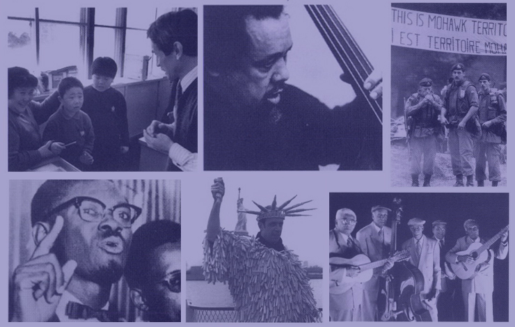 Clockwise, top-left: <em>Heart of the Country, Charles Mingus: Triumph of the Underdog, Kanehsatake: 270 Years of Resistance, Black Tears, Under Wraps</em>, and<em> Lamumba</em>