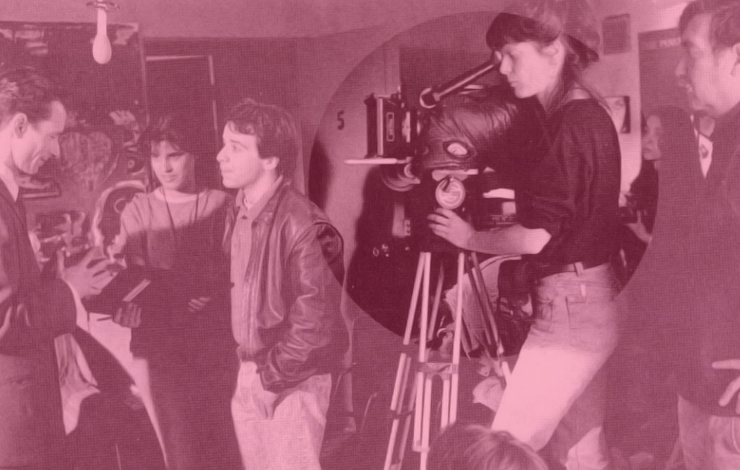 Maryse Alberti shooting <em>The Golden Boat</em> with the director Raul Ruiz (right).