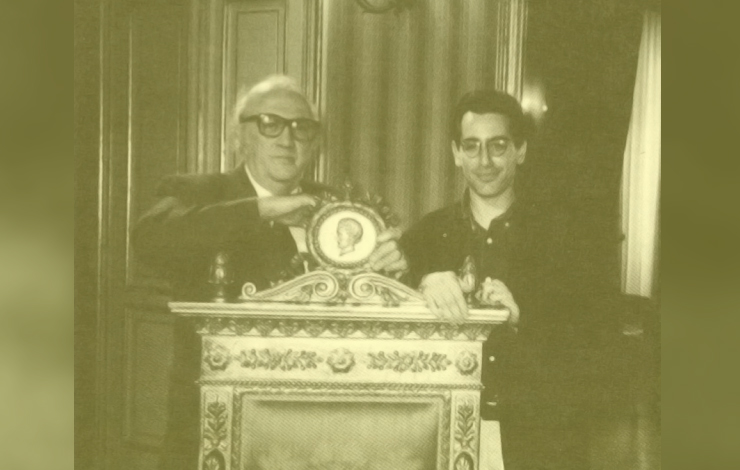 Stuart (right) with Federico Fellini, the subject of one of Stuart's documentaries.