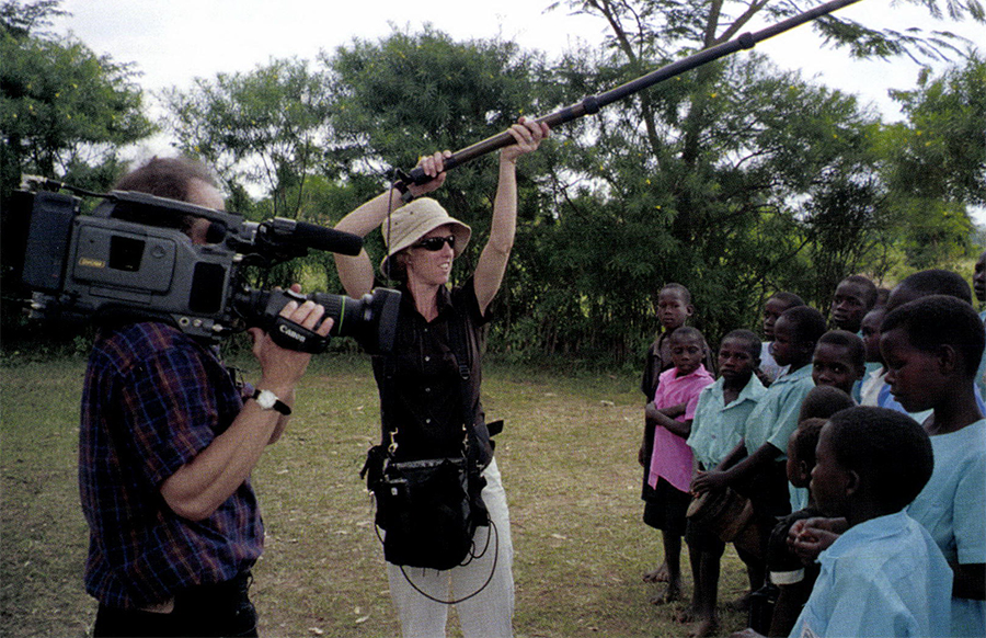 Nick Doob, cinematographer, and Rory Kennedy, producer/director shooting Pandemic: Facing AIDS in Uganda.