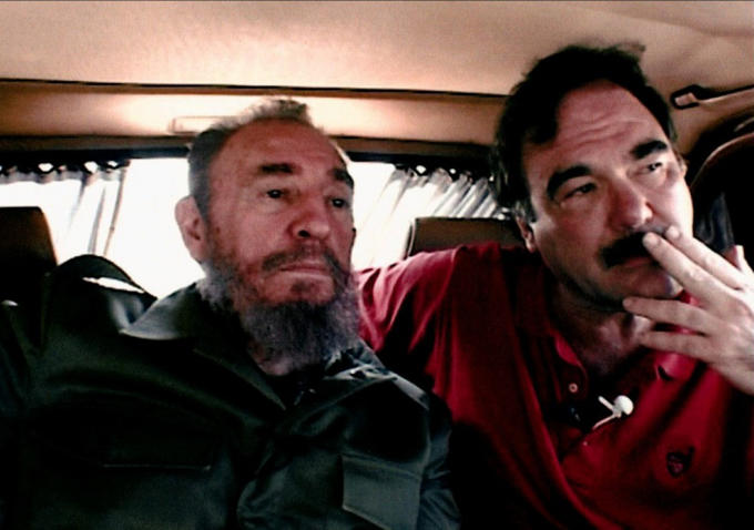 Fidel Castro (left) and Oliver Stone, from 'Comandante.' Photo courtesy of Ixtlan/HBO.