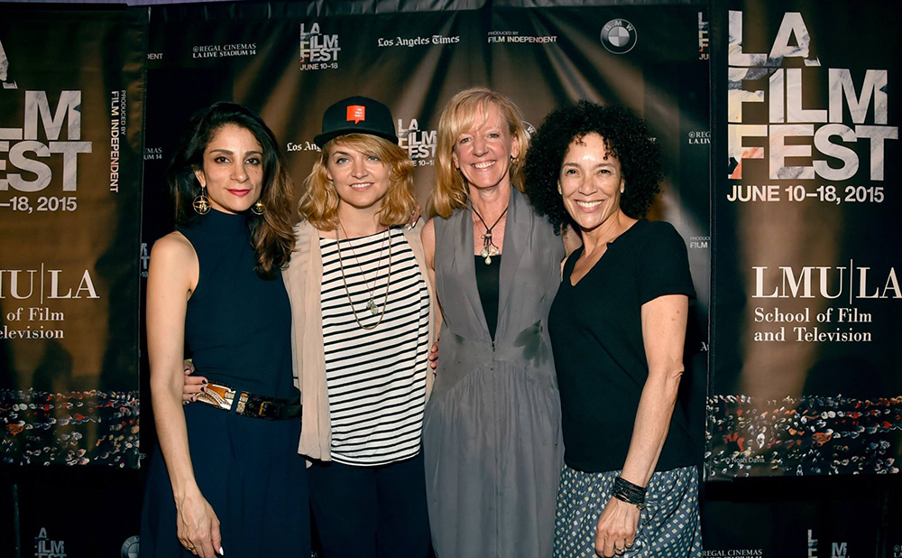 Los Angeles Film Festival programmer Roya Rastegar with Best Documentary Audience Award winners Natalie Johns ('I Am Thalente') and Lilibet Foster ('Be Here Now') and LA Film Fest director Stephanie Allain