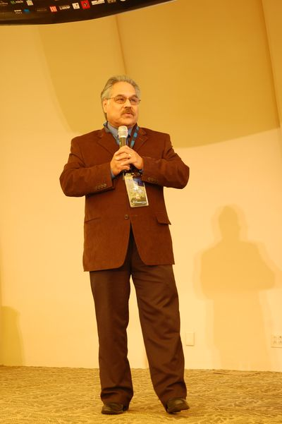 Filmmaker Luis Valdez delivering keynote address at the 10th annual NALIP Conference. Photo: Josh Weiss