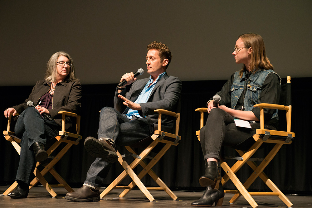 Left to right: Electronic Frontier Foundation Legal Director Cindy Cohn, 'Deep Web' director...and journalist/illustrator Susie Cagle. Photo: Pat Mazzera. Courtesy of the San Francisco Film Society