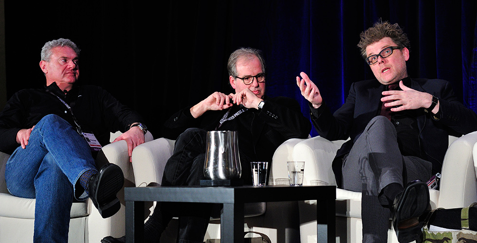 "Left to right: Phil Segal, Erik Nelson and Julian Hobbs participating in the ""Innovation Conversation"" panel. Photo: Rahoul Ghose. Courtesy of Realscreen Summit."