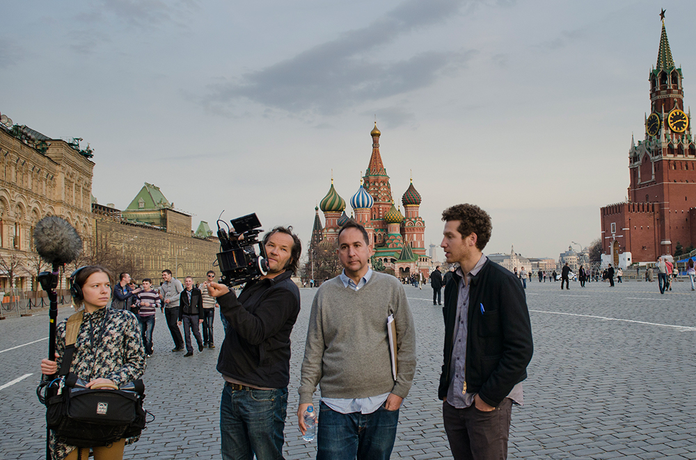 Filmmaker Gabe Polsky (right) and crew in Moscow. Photo: Silvia Zeitlinger; courtesy of Sony Pictures Classics