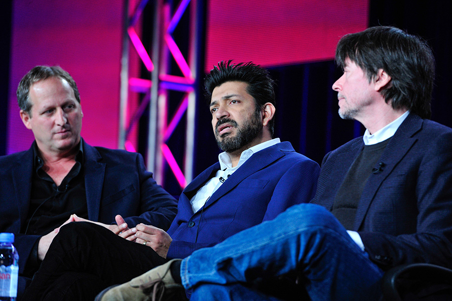 Director Barak Goodman (left) and executive producer Ken Burns flank Sihhhartha Mukhurjee, MD, Pulitzer Prize-winning author of 'Cancer: The Emperor of All Maladies', the basis for the forthcoming PBS series. Photo: Rahoul Ghose/PBS