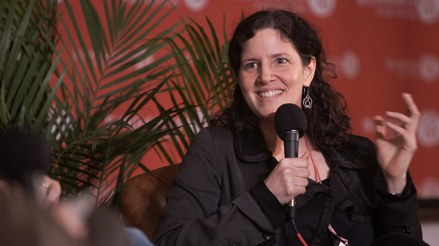 "Filmmaker Laura Poitras participating in the ""Bringing Truths to Light"" panel at the Sundance Film Festival. Courtesy of Sundance Film Festival"