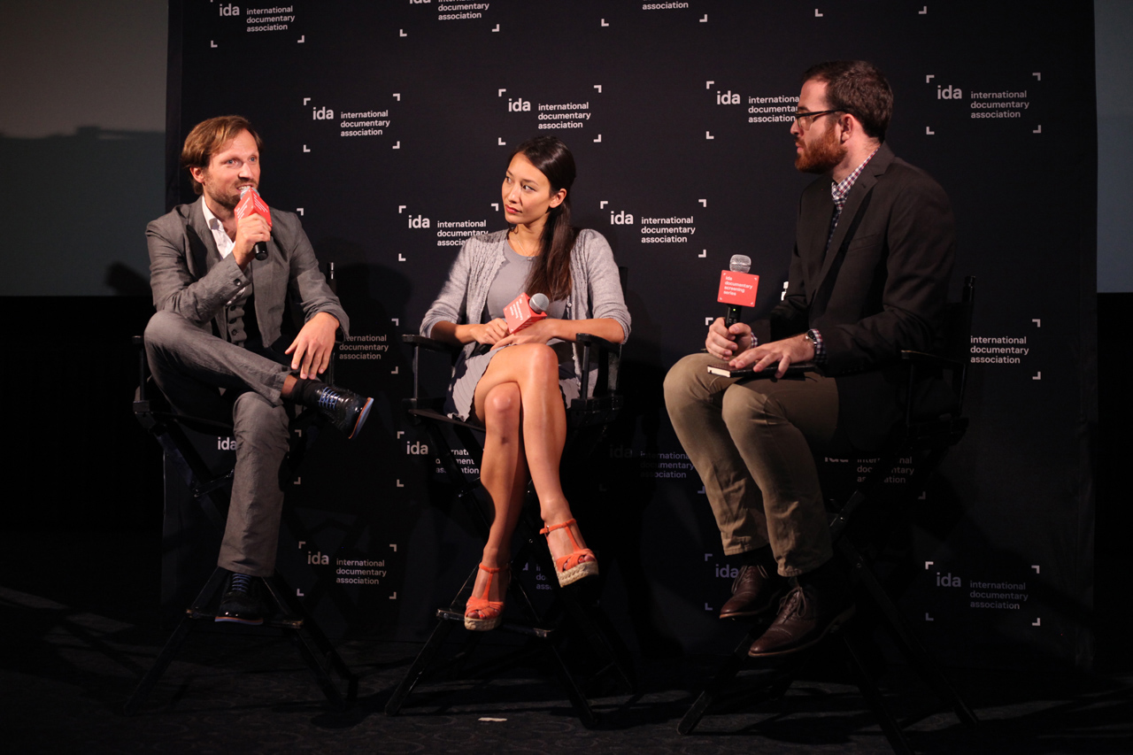 Director Orlando von Einsiedel and producer Joanna Natasegara with Criticwire's Steve Greene